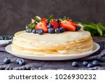 homemade crepes cake with...   Shutterstock . vector #1026930232