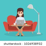 woman in freelance working... | Shutterstock .eps vector #1026938932