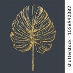 golden philodendron leave. hand ...   Shutterstock .eps vector #1026942382