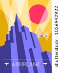 skyscraper and airplane poster... | Shutterstock .eps vector #1026942922