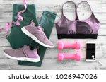 womens active clothes  leggings ... | Shutterstock . vector #1026947026