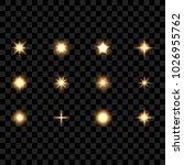 set of stars and lights  vector ...   Shutterstock .eps vector #1026955762