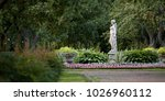 old summer park with green... | Shutterstock . vector #1026960112