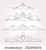 set of calligraphic floral... | Shutterstock .eps vector #102696056