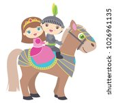 cute little princess and knight ... | Shutterstock .eps vector #1026961135