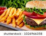 thick and juicy hamburger on...