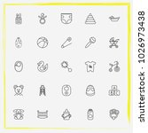 baby care line icon set diapers ... | Shutterstock .eps vector #1026973438