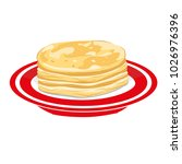 pancakes in a red plate | Shutterstock .eps vector #1026976396