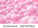 red and pink heart. valentine's ... | Shutterstock . vector #1027037812