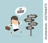 businesswoman friday after work ... | Shutterstock .eps vector #1027046572