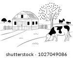 farm village landscape | Shutterstock .eps vector #1027049086