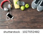 fitness concept with exercise... | Shutterstock . vector #1027052482