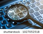 closeup images of magnifying... | Shutterstock . vector #1027052518
