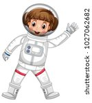 girl in astronaut outfit waving ... | Shutterstock .eps vector #1027062682