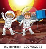 two astronauts on strange... | Shutterstock .eps vector #1027062778