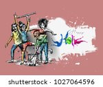 holi celebrations   boy playing ... | Shutterstock .eps vector #1027064596