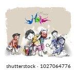 holi celebrations   boy playing ...   Shutterstock .eps vector #1027064776