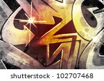 graffiti over old dirty wall ... | Shutterstock . vector #102707468