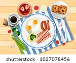 breakfast set with eggs and... | Shutterstock .eps vector #1027078456