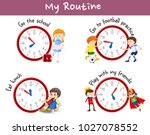 different routines on poster... | Shutterstock .eps vector #1027078552