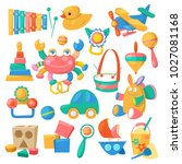 kids toys vector cartoon games... | Shutterstock .eps vector #1027081168