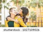 happy playful girlfriends in... | Shutterstock . vector #1027109026