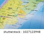 uruguay on the map | Shutterstock . vector #1027123948
