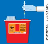 sharps container hiv trash... | Shutterstock .eps vector #1027154398