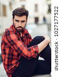 young bearded man  model of... | Shutterstock . vector #1027177522
