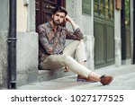 young bearded man  model of... | Shutterstock . vector #1027177525