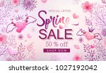 spring sale banner with cherry... | Shutterstock .eps vector #1027192042