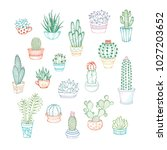 vector set of linear icons of... | Shutterstock .eps vector #1027203652