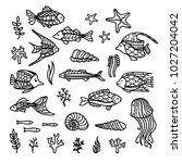 vector doodles underwater icons ... | Shutterstock .eps vector #1027204042