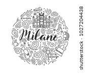 hand drawn circle of milan.... | Shutterstock .eps vector #1027204438