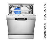 open dishwasher isolated on... | Shutterstock . vector #1027227472