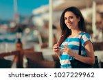 happy travel tourist girl... | Shutterstock . vector #1027229962