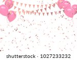light pink baloons with gold... | Shutterstock . vector #1027233232