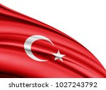 turkey flag of silk with... | Shutterstock . vector #1027243792