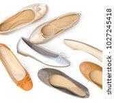 flat lay ballerina  flats shoes ... | Shutterstock . vector #1027245418
