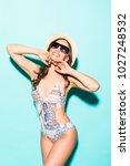 portrait of female wearing... | Shutterstock . vector #1027248532