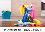 close up of cleaning products... | Shutterstock . vector #1027254076