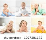 collage with cute little...   Shutterstock . vector #1027281172
