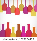 wine glass and bottle art... | Shutterstock .eps vector #1027286455