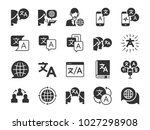 translation icon set. included... | Shutterstock .eps vector #1027298908