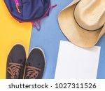 flat lay traveler accessories... | Shutterstock . vector #1027311526