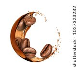 coffee beans moves in a coffee... | Shutterstock . vector #1027323232
