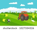 tractor on the green field ... | Shutterstock .eps vector #1027334326