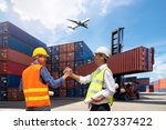 foreman and businessman control ... | Shutterstock . vector #1027337422