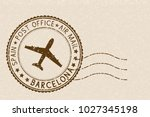 postal stamp  round brown... | Shutterstock . vector #1027345198
