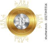 golden bitcoin crypto currency  ...   Shutterstock .eps vector #1027345516